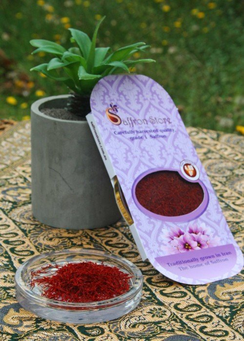 Saffron in container and packing