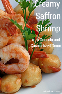 cream saffron shrimp with gnocchi and caramelize onion