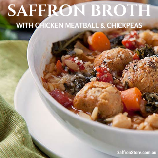 Saffron Broth with chicken meatball and chickpeas