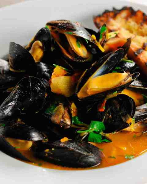 steamed mussels in a saffron broth
