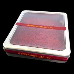 25 grams saffron in a metal container