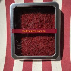50 grams saffron in a metal container